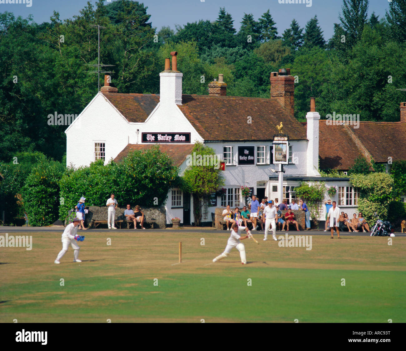 Village green cricket, Tilford, Surrey, England, UK - Stock Image