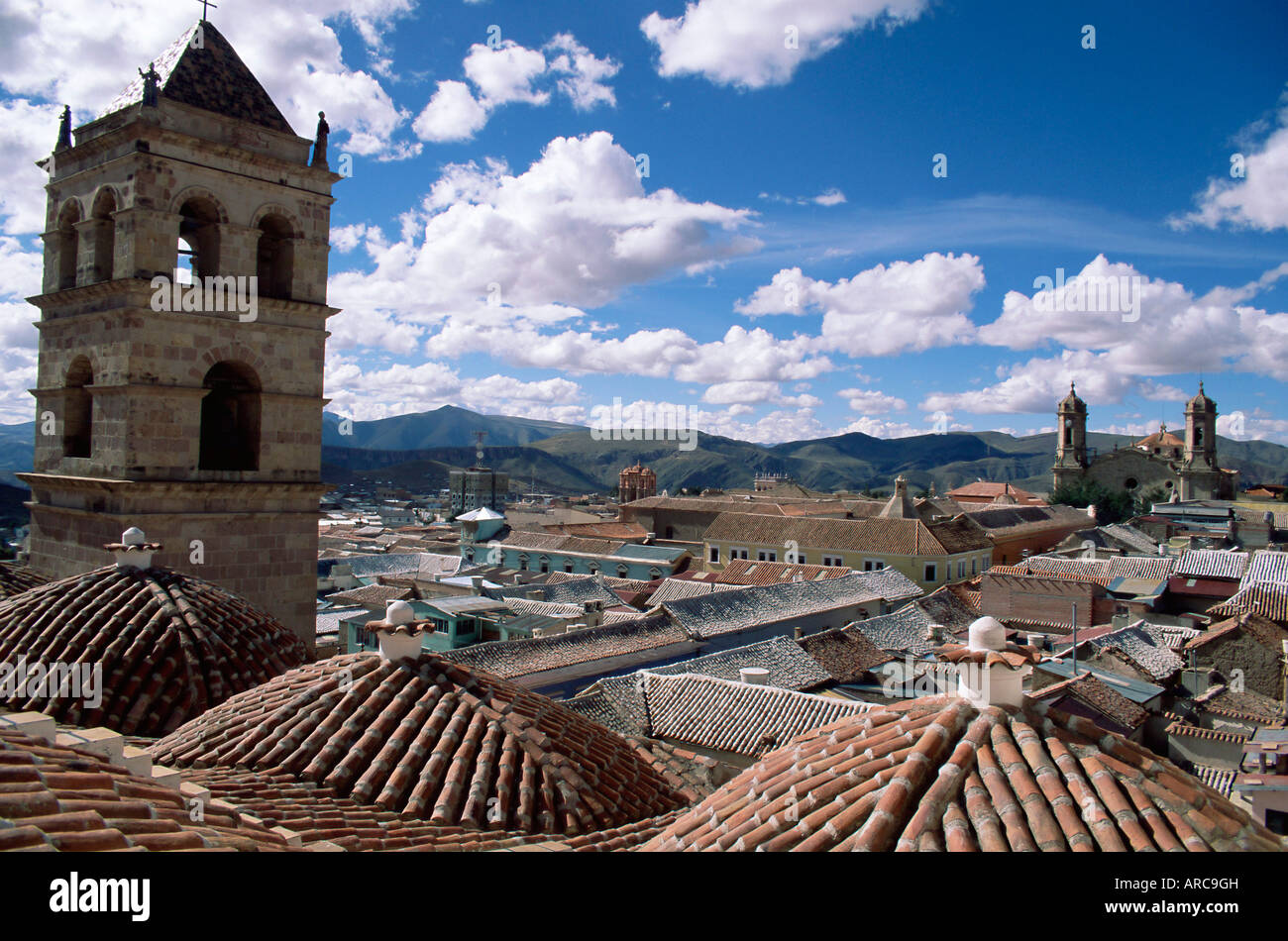 Roof top view of Christian Convent of San Francisco, Potosi, UNESCO World Heritage Site, Bolivia, South America - Stock Image