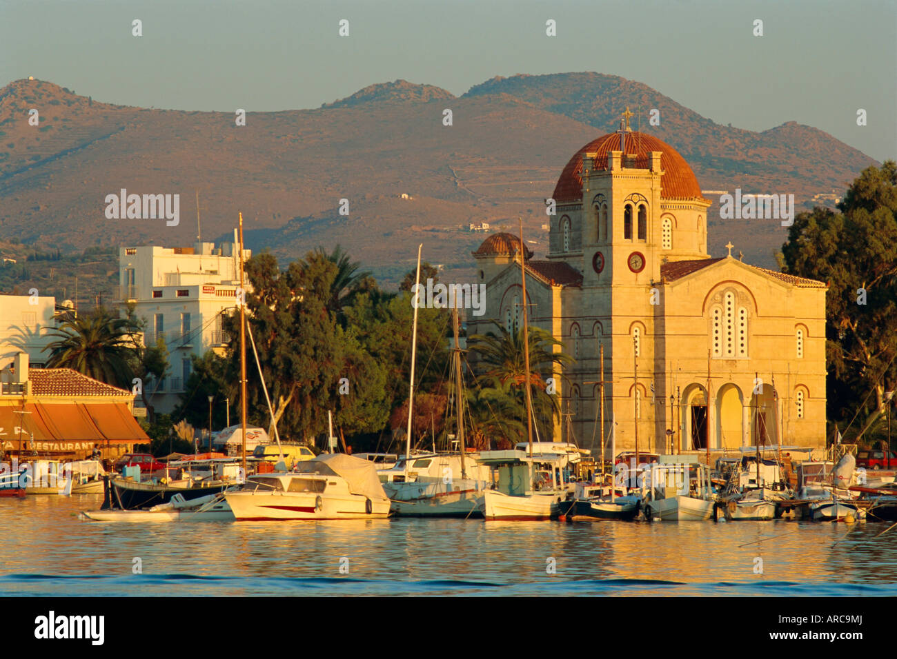 Town church and waterfront, Aegina, Argo-Saronic Islands, Greece, Europe - Stock Image