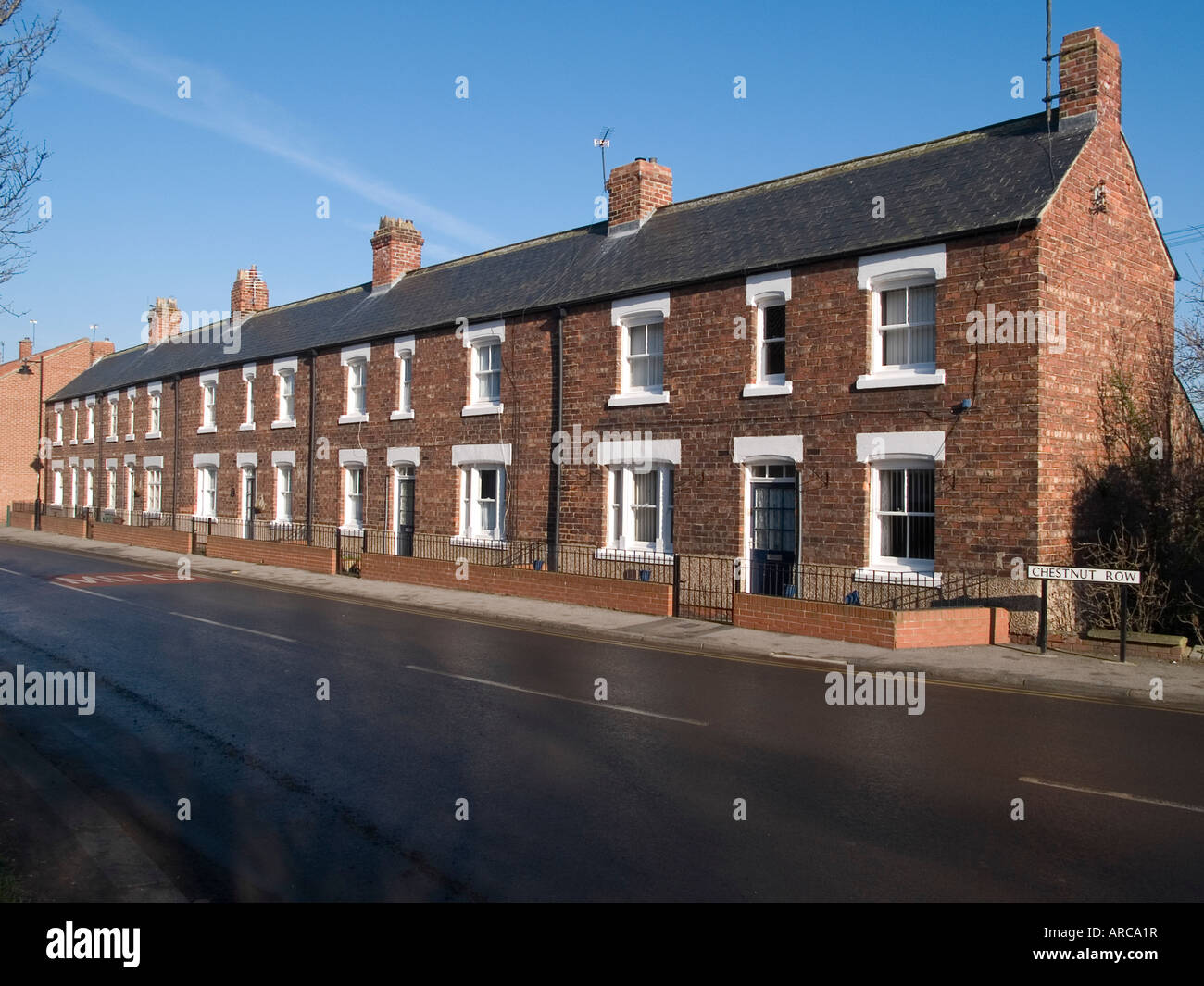 Chestnut Row a row of substantial well built double fronted terraced houses in Greatham Co Durham - Stock Image