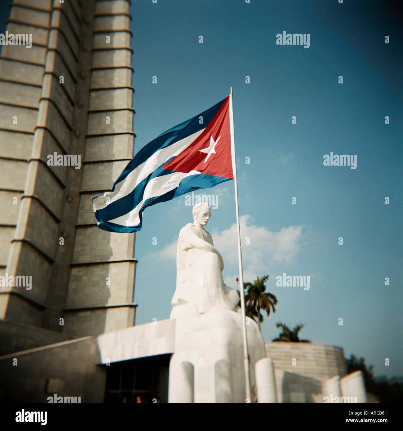 Cuban flag and Jose Marti memorial, Plaza de la Revolucion, Havana, Cuba, West Indies, Central America - Stock Image