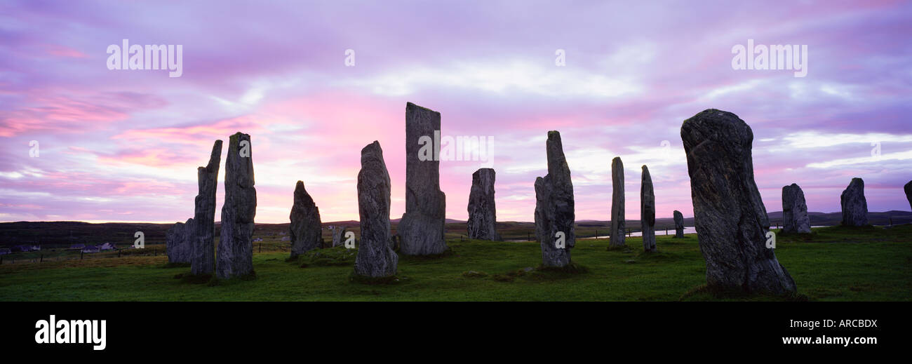Standing stones of Callanish, Isle of Lewis, Outer Hebrides, Scotland, United Kingdom, Europe - Stock Image