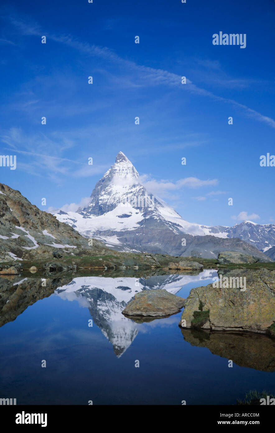 The Matterhorn mountain, Valais (Wallis), Swiss Alps, Switzerland, Europe - Stock Image