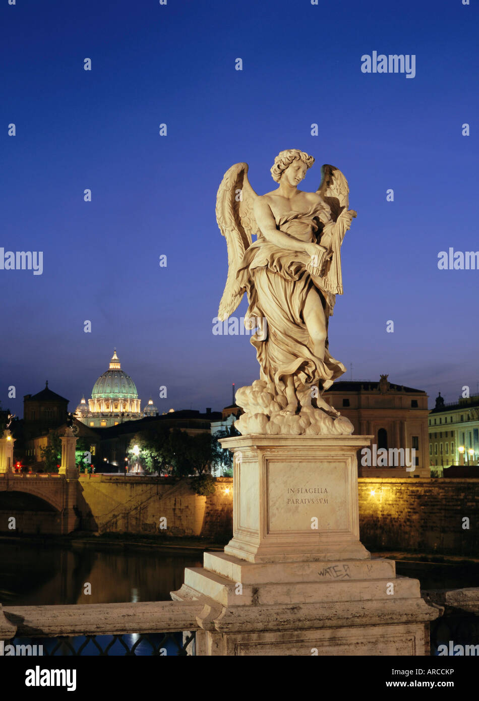 Angelic statue on Ponte Sant Angelo, St. Peter's, Vatican, Rome, Italy - Stock Image