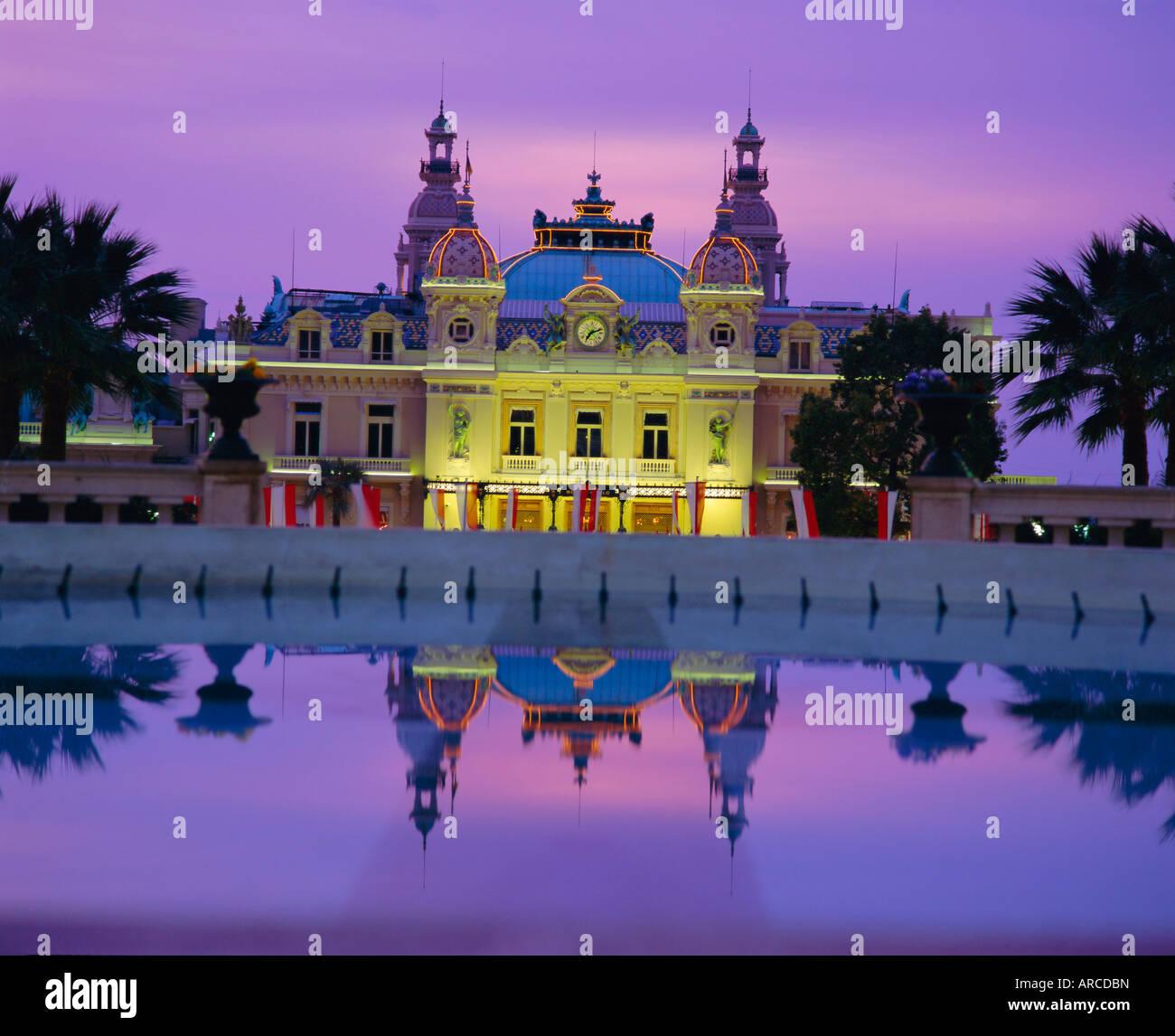 West front of the Casino, Monte Carlo, Monaco, Europe - Stock Image