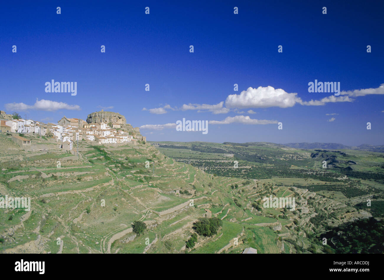 View to the village of Ares del Maestre, Castellon, Valencia, Spain, Europe - Stock Image