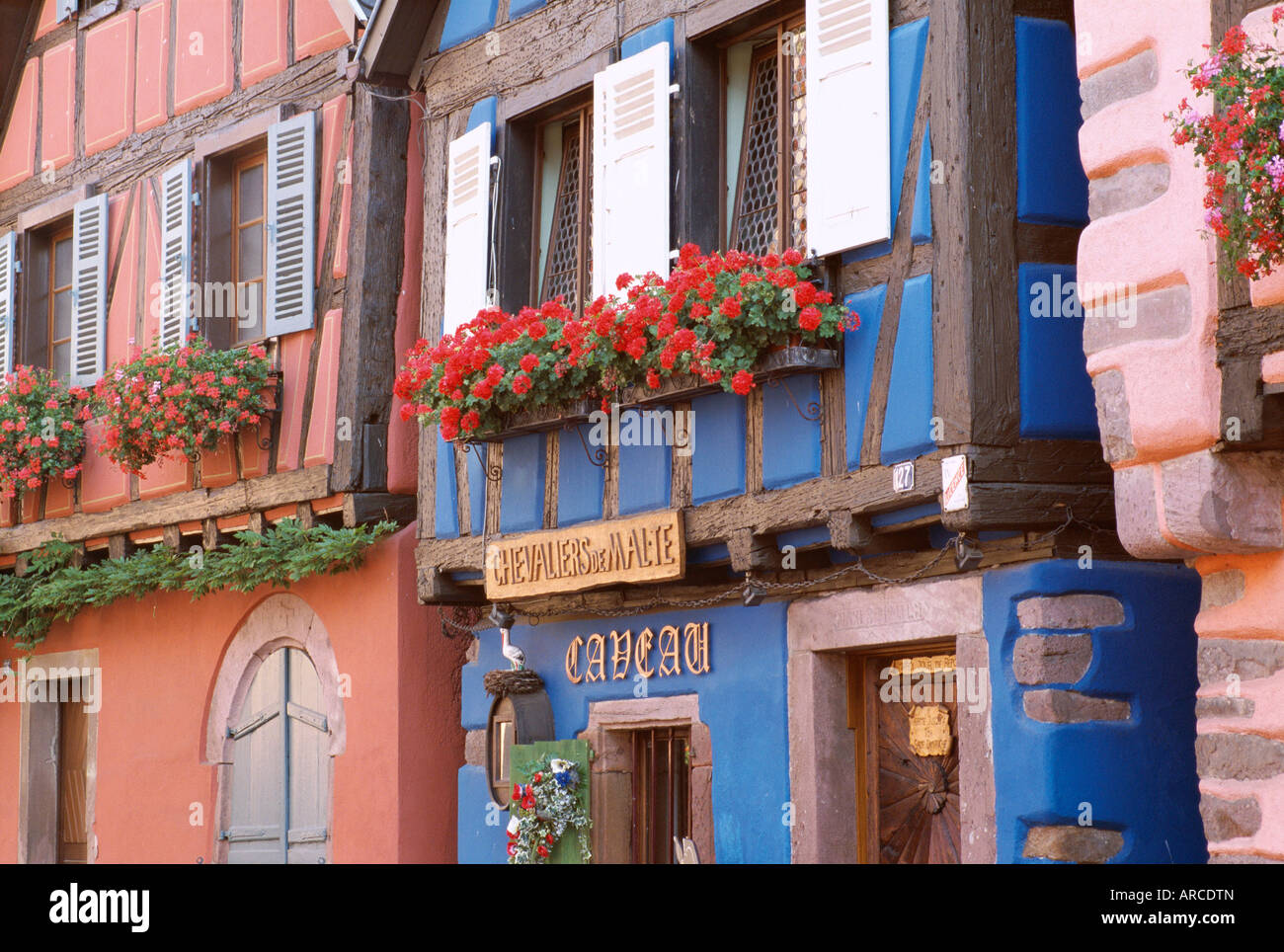 Exterior of blue house with windowboxes of geraniums, Niedermorschwihr, Haute-Rhin, Alsace, France, Europe Stock Photo