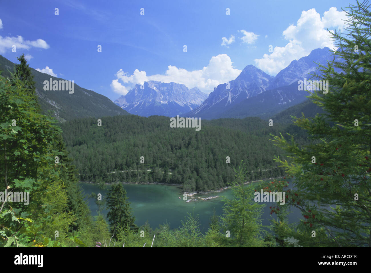 View to the Zugspitze across the Fernsteinsee, Tirol (Tyrol), Austria, Europe - Stock Image