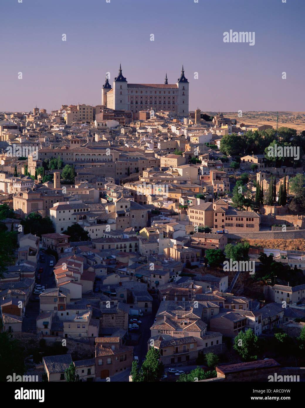 The Alcazar towering above the city, Toledo, Castilla-La Mancha, Spain, Europe - Stock Image
