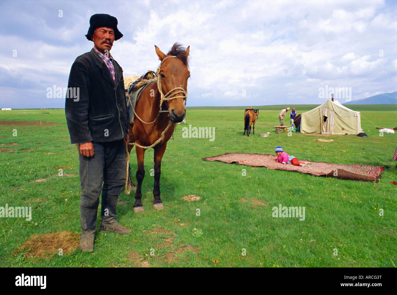 Nomad at home, Lake Son-Kul, Kyrgyzstan, Central Asia - Stock Image