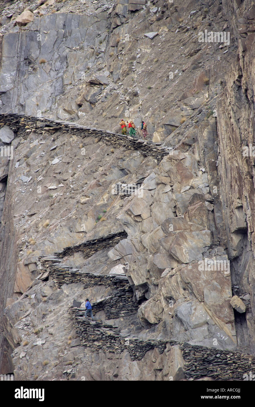 Winding mountain path, near Passu, Bojal, Pakistan, Asia - Stock Image