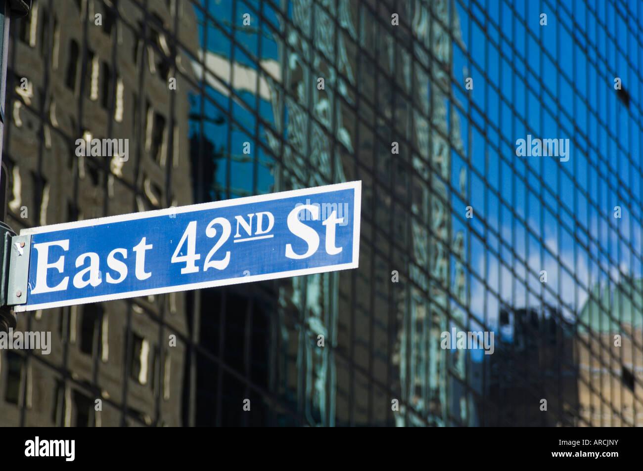 East 42nd Street sign, Manhattan, New York City, New York, United States of America, North America - Stock Image