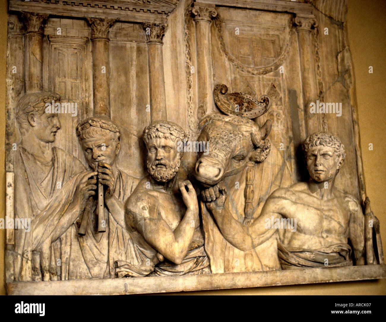 Greek Roman Art Sacrifice 1st men horse man flute Stock Photo