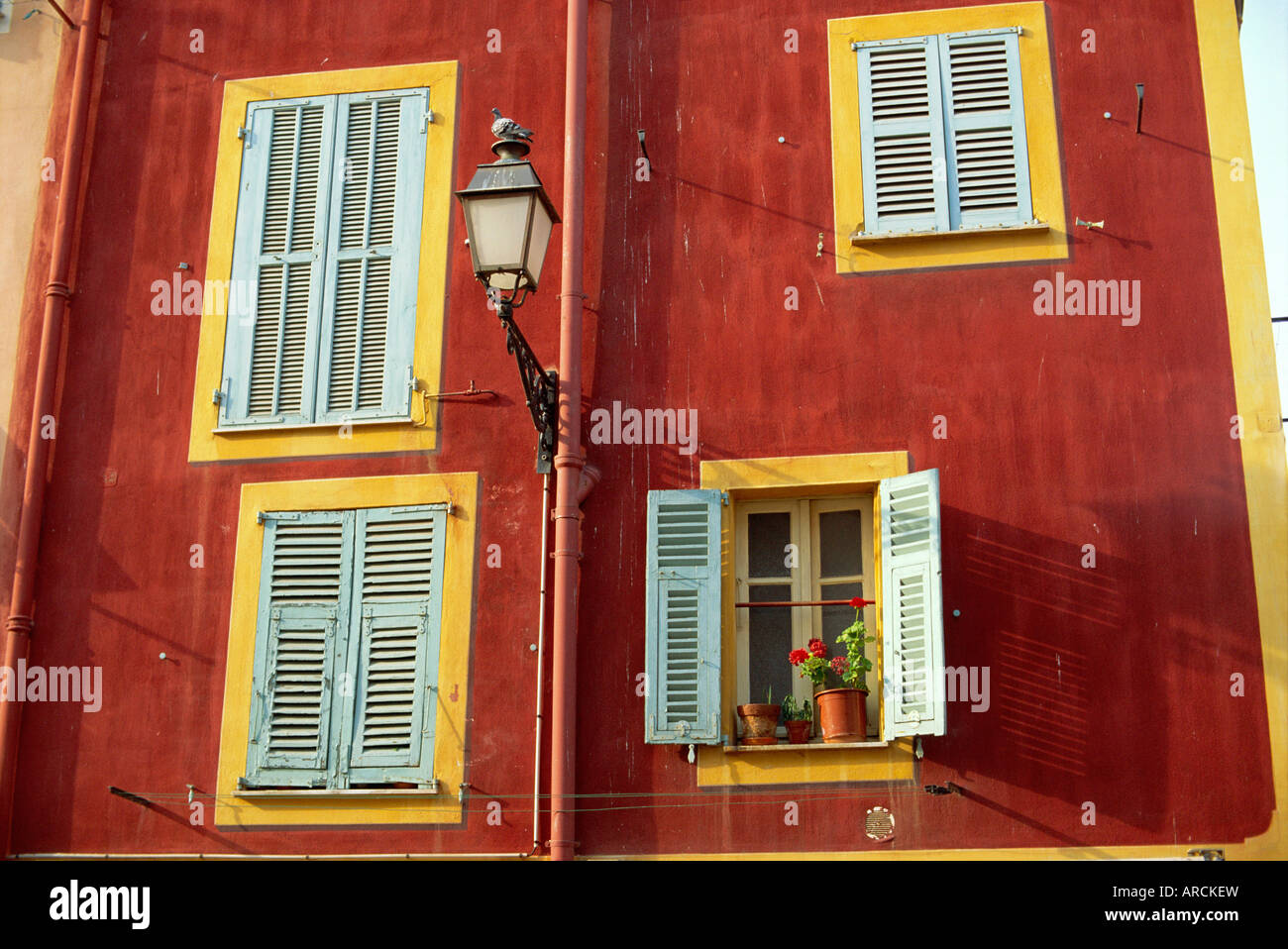 Shuttered windows in the old town, Nice, Provence, France - Stock Image