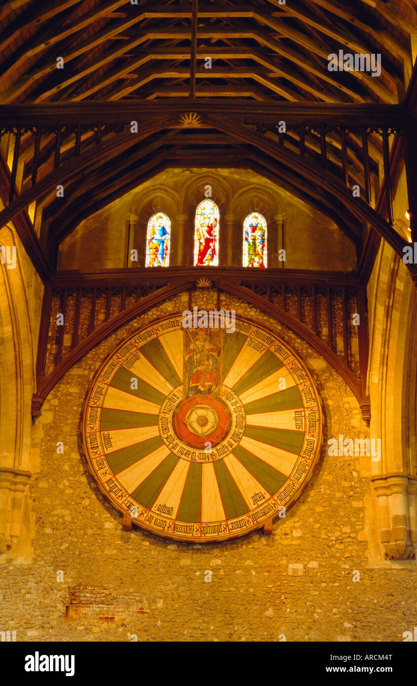King Arthur's Round Table hanging in the Great Hall, Winchester, England, UK - Stock Image