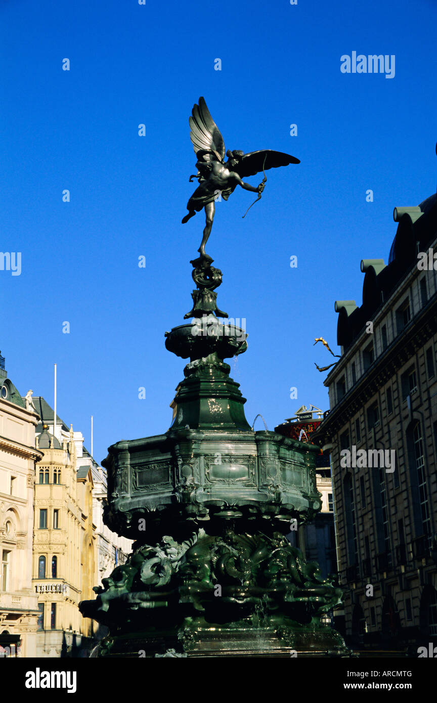 Statue of Eros, Piccadilly Circus, London, England, UK - Stock Image