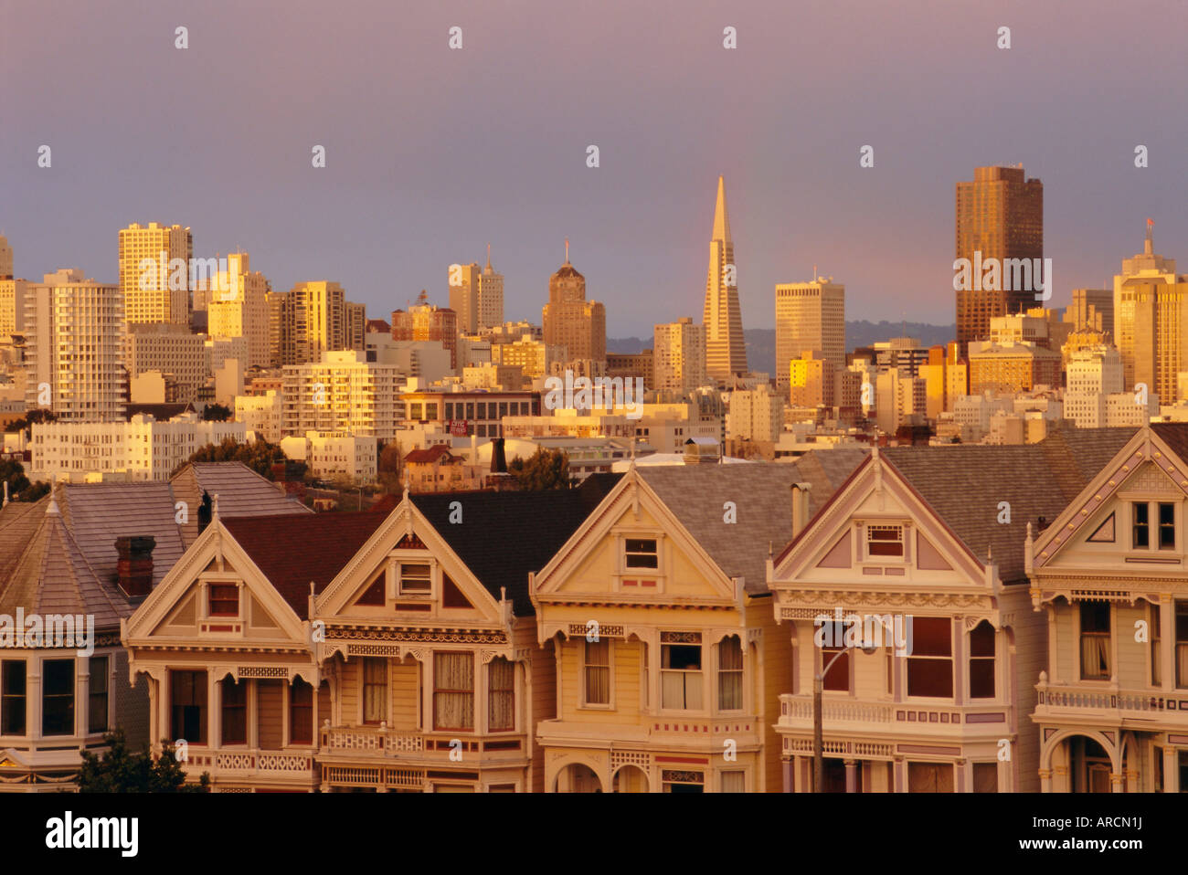 The 'Painted Ladies', Victorian houses on Alamo Square, San Francisco, California, USA - Stock Image