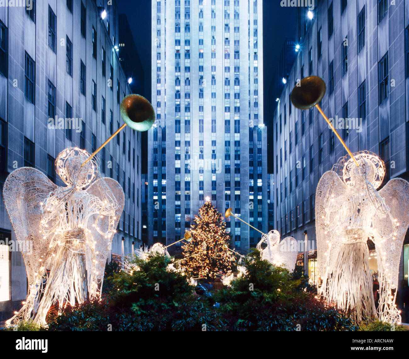 Angels at the Rockerfeller Centre, decorated for Christmas, New York City, USA - Stock Image