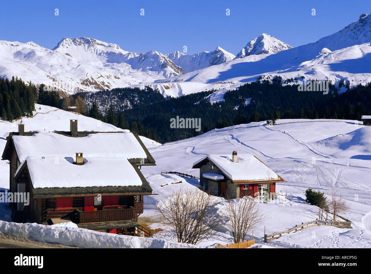 ski resort, arosa, graubunden region, swiss alps, switzerland