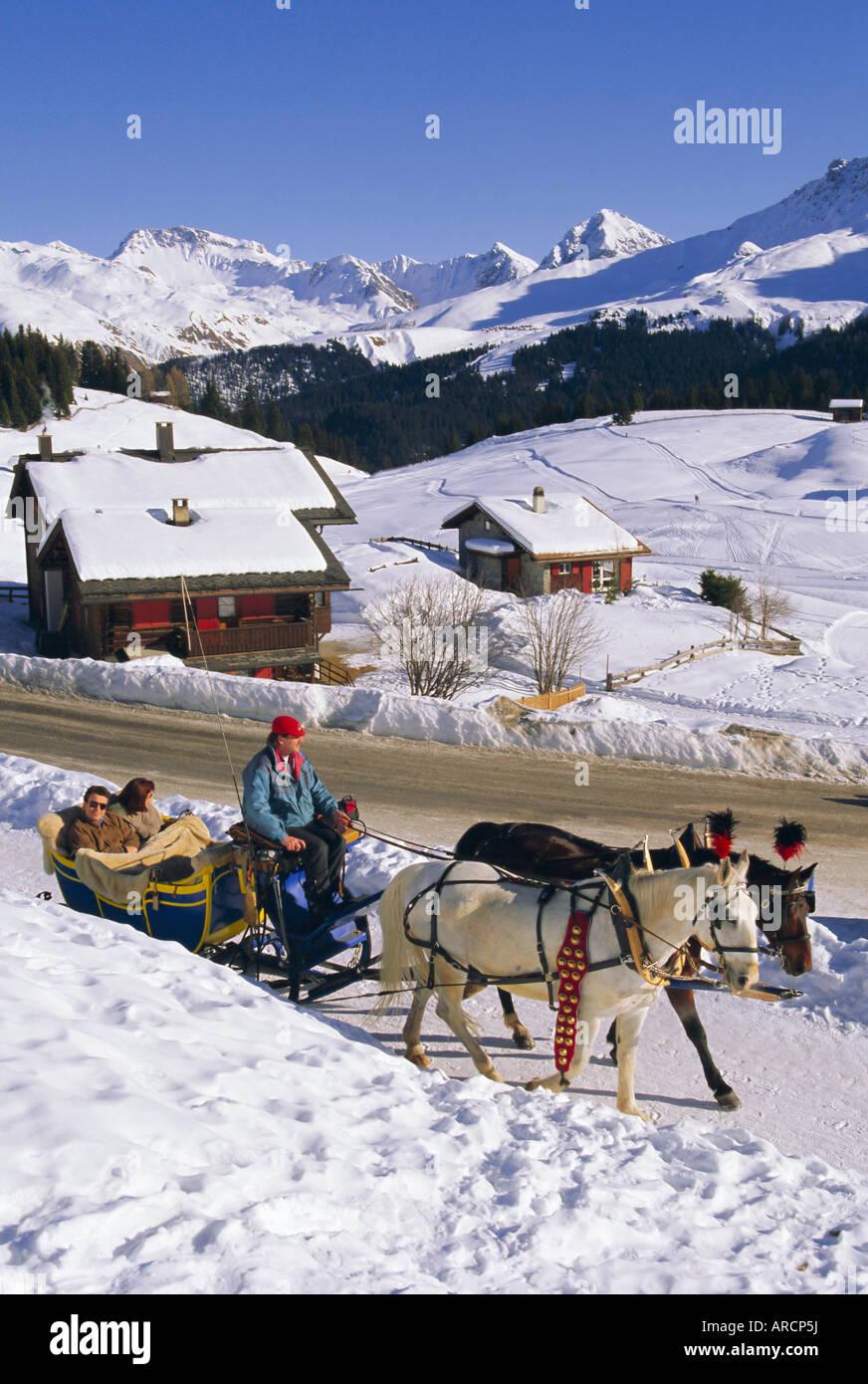 horse drawn sleigh at ski resort, arosa, graubunden region, swiss
