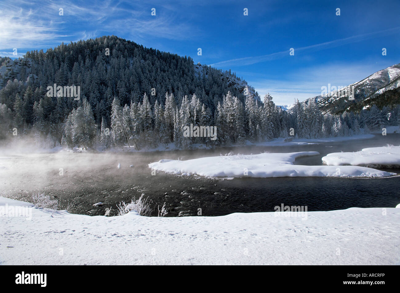River in winter, Refuge Point, West Yellowstone, Montana, United States of America (U.S.A.), North America - Stock Image