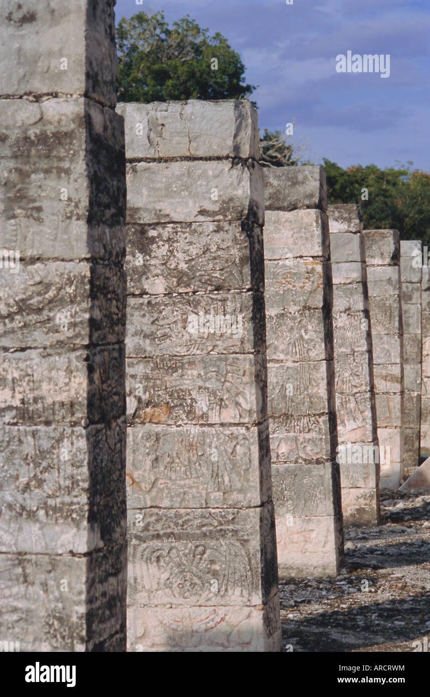 The group of a thousand columns, Chichen Itza, Yucatan, Mexico, Central America - Stock Image