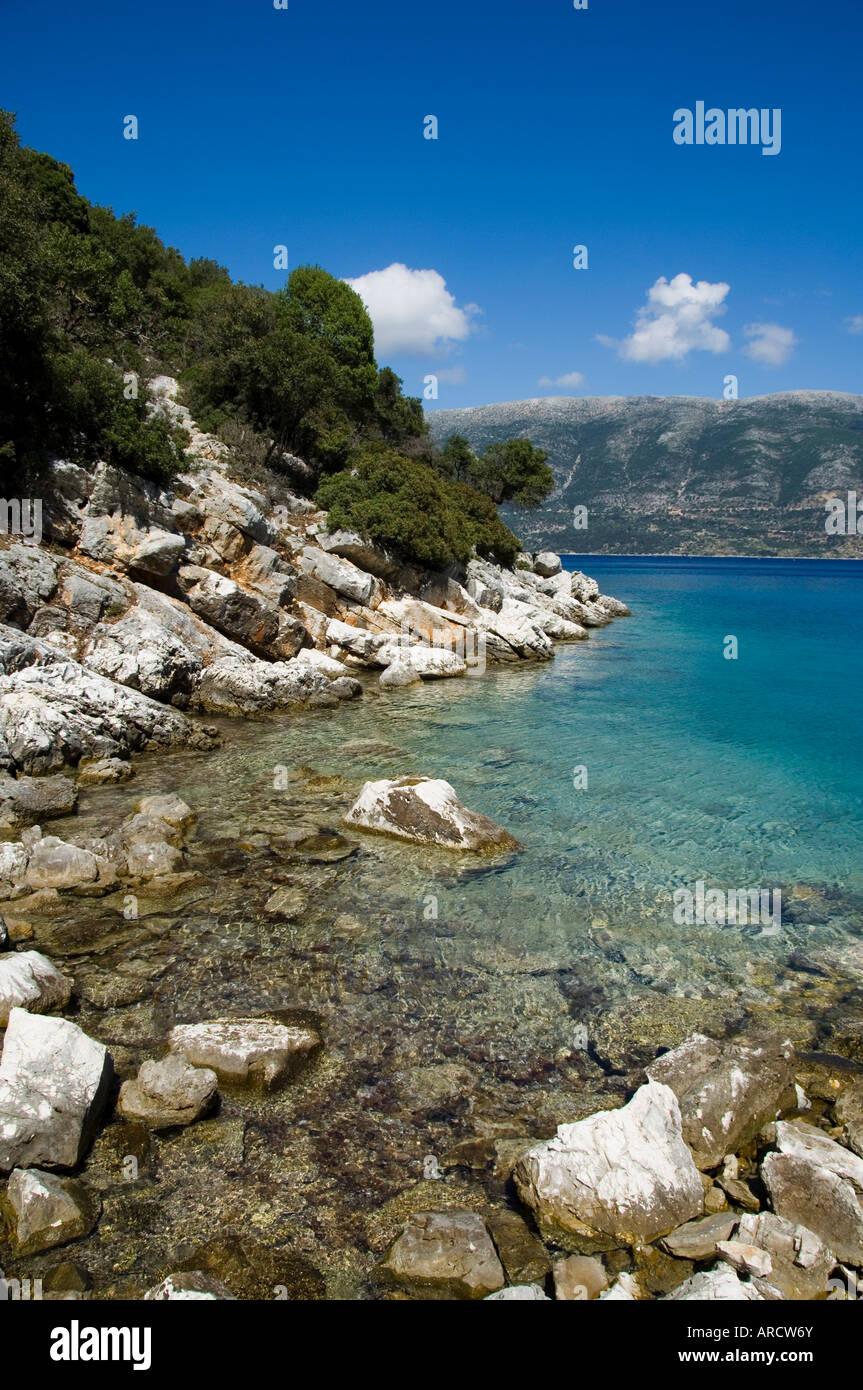 Near Fiskardo on the east coast of Kefalonia (Cephalonia), Ionian Islands, Greece, Europe - Stock Image