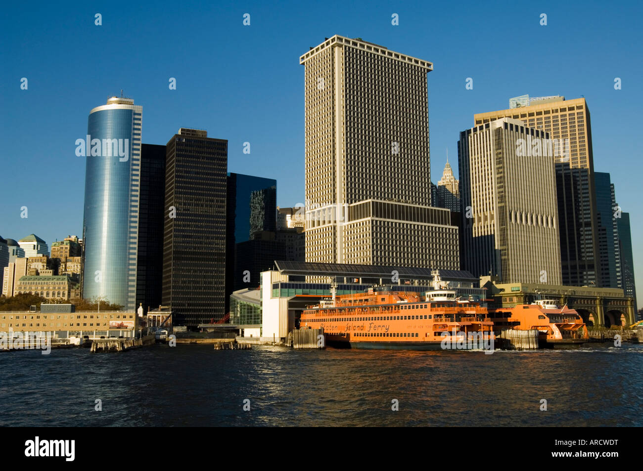 Staten Island ferry, Business district, Lower Manhattan, New York City, New York, United States of America, North - Stock Image