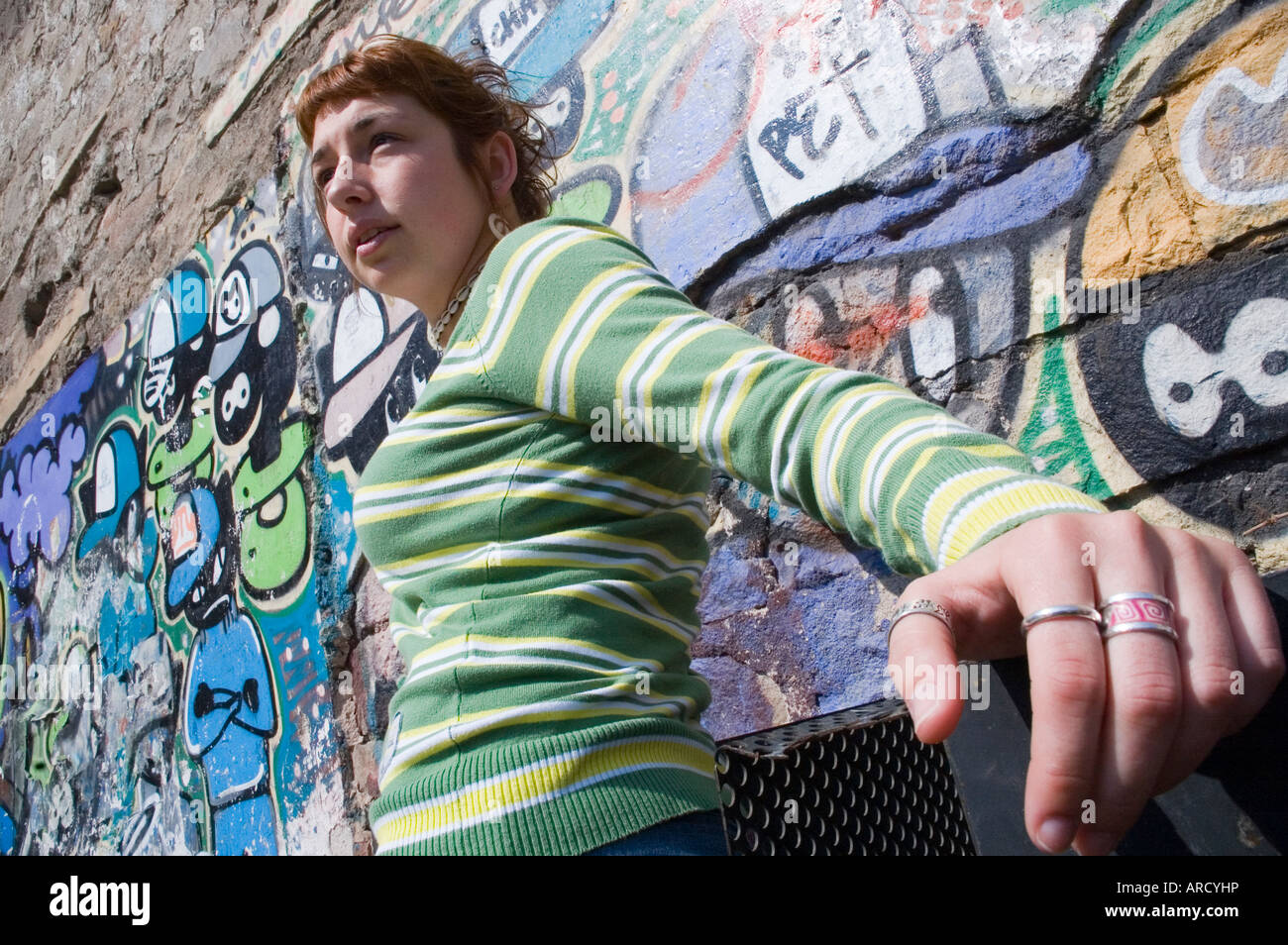 reputable site bc7cb 0d600 Girl with green jersey in the Raval district, Barcelona ...