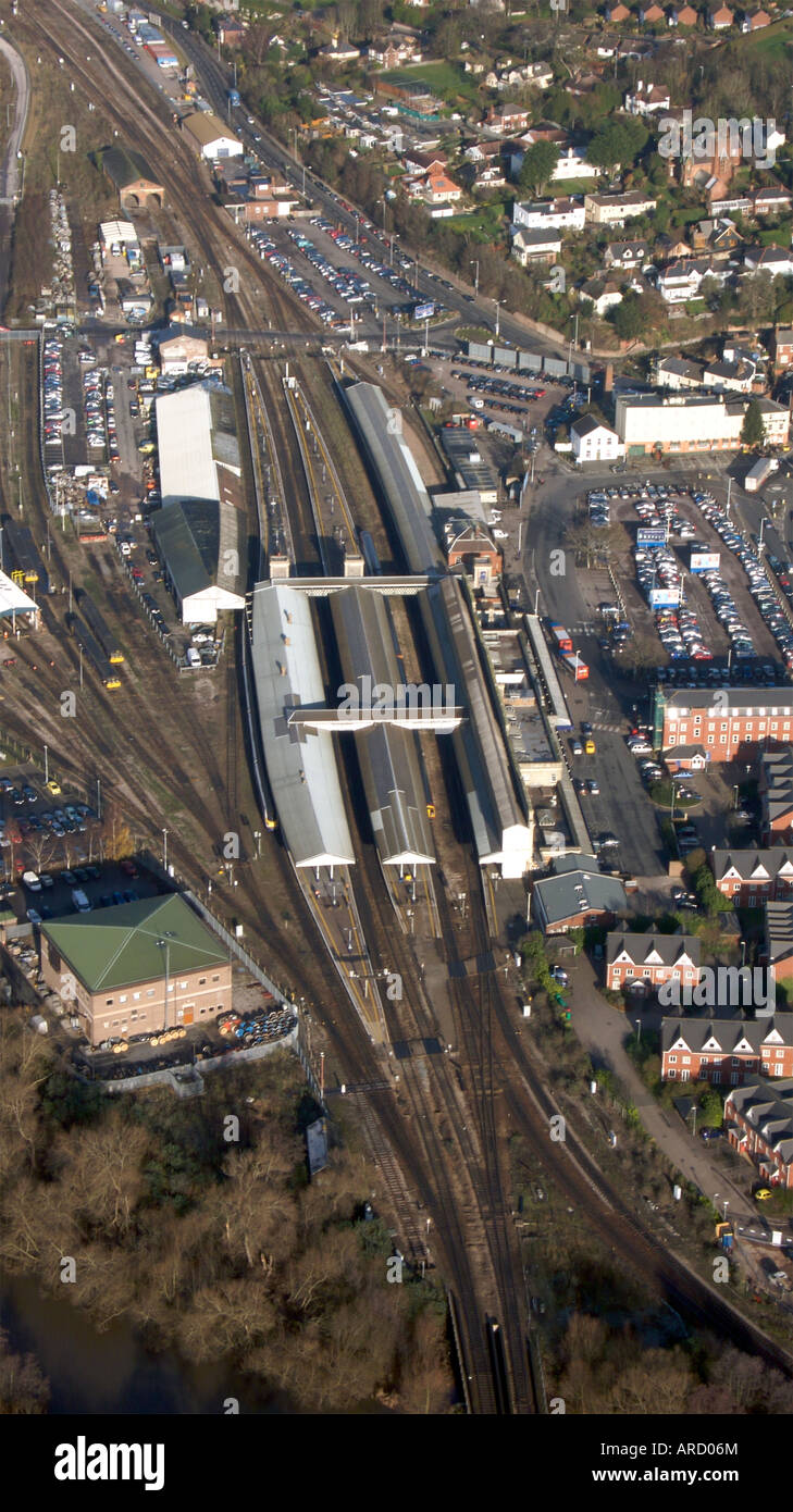 Exeter St Davids Train Station From The Air Exeter Devon Uk Stock