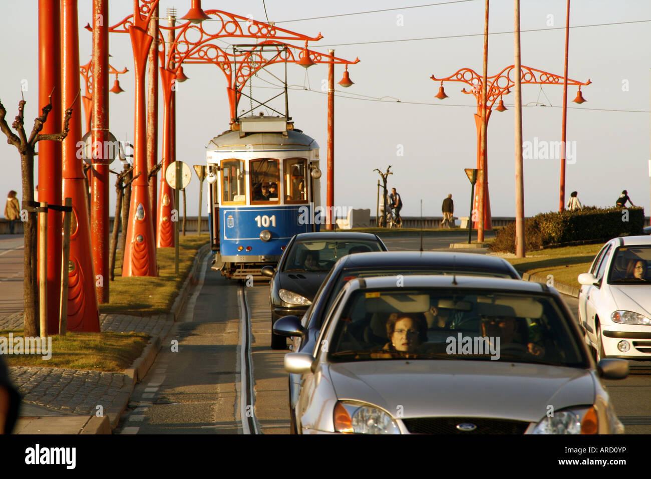 Tram in La Coruña, Spain. Made in England, run in Spain - Stock Image