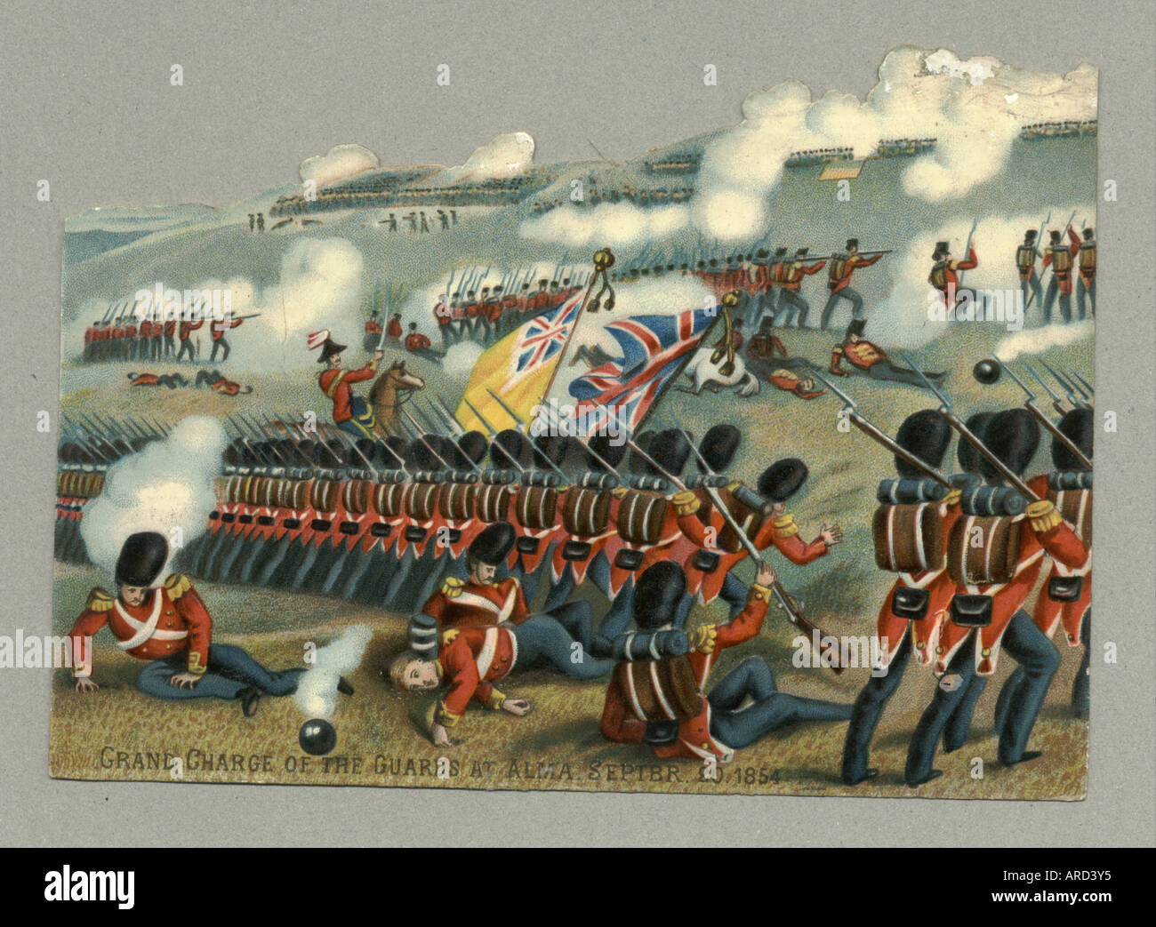 Chromolithographed diecut and embossed scrap of the Grand Charge of the Guards at Alma 1854, circa 1880 - Stock Image