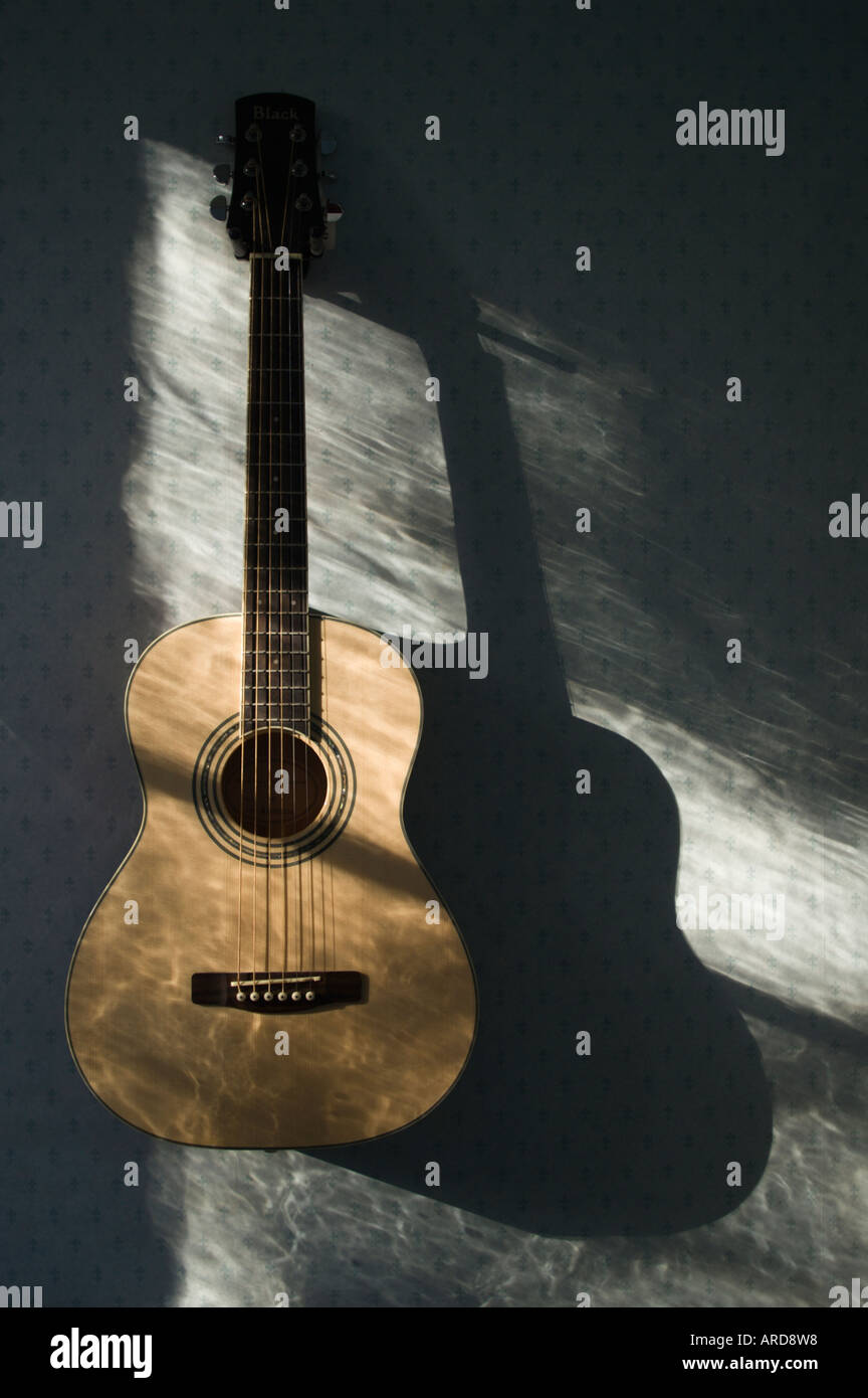 Guitar small three quarter size steel string - Stock Image