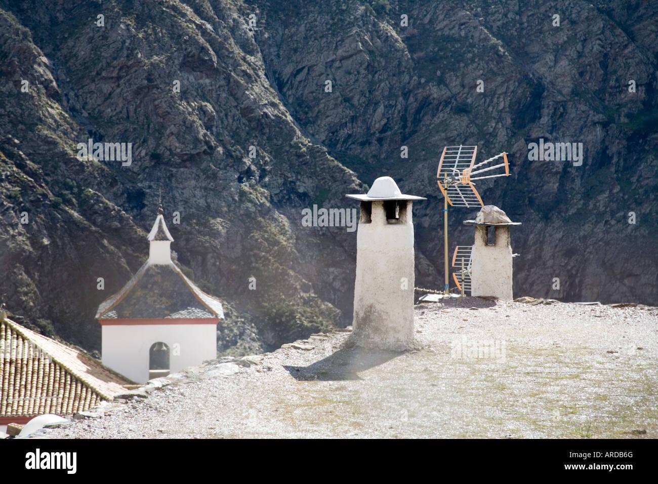 Andalucian chimney pots Las Alpujarras Spain - Stock Image