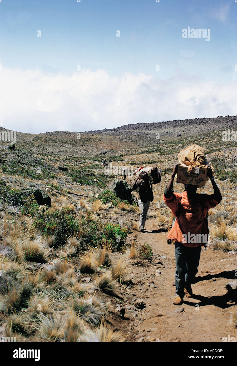 Porters carrying head loads up Kilimanjaro Tanzania - Stock Image