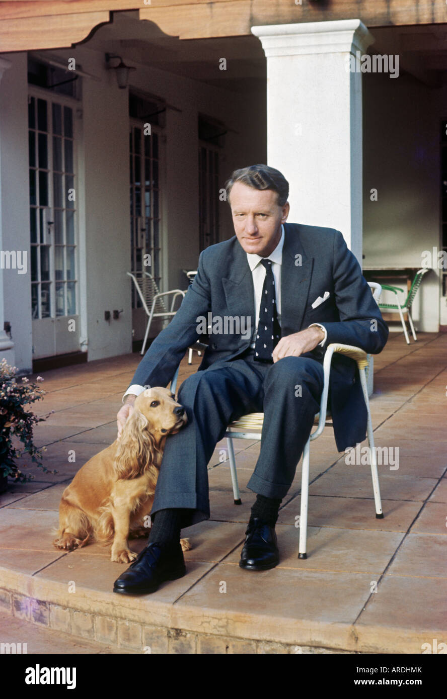 Ian Smith, Rhodesia prime minister, at home with pet spaniel; in 1965 he declared UDI, unilateral independence, - Stock Image