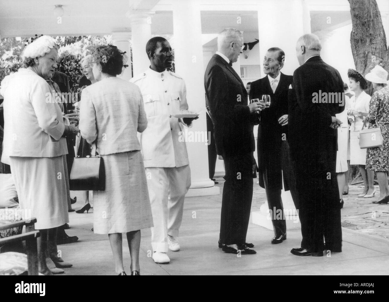 Government House party in Salisbury Rhodesia after UDI declaration; Clifford Dupont.president of illegal republic - Stock Image