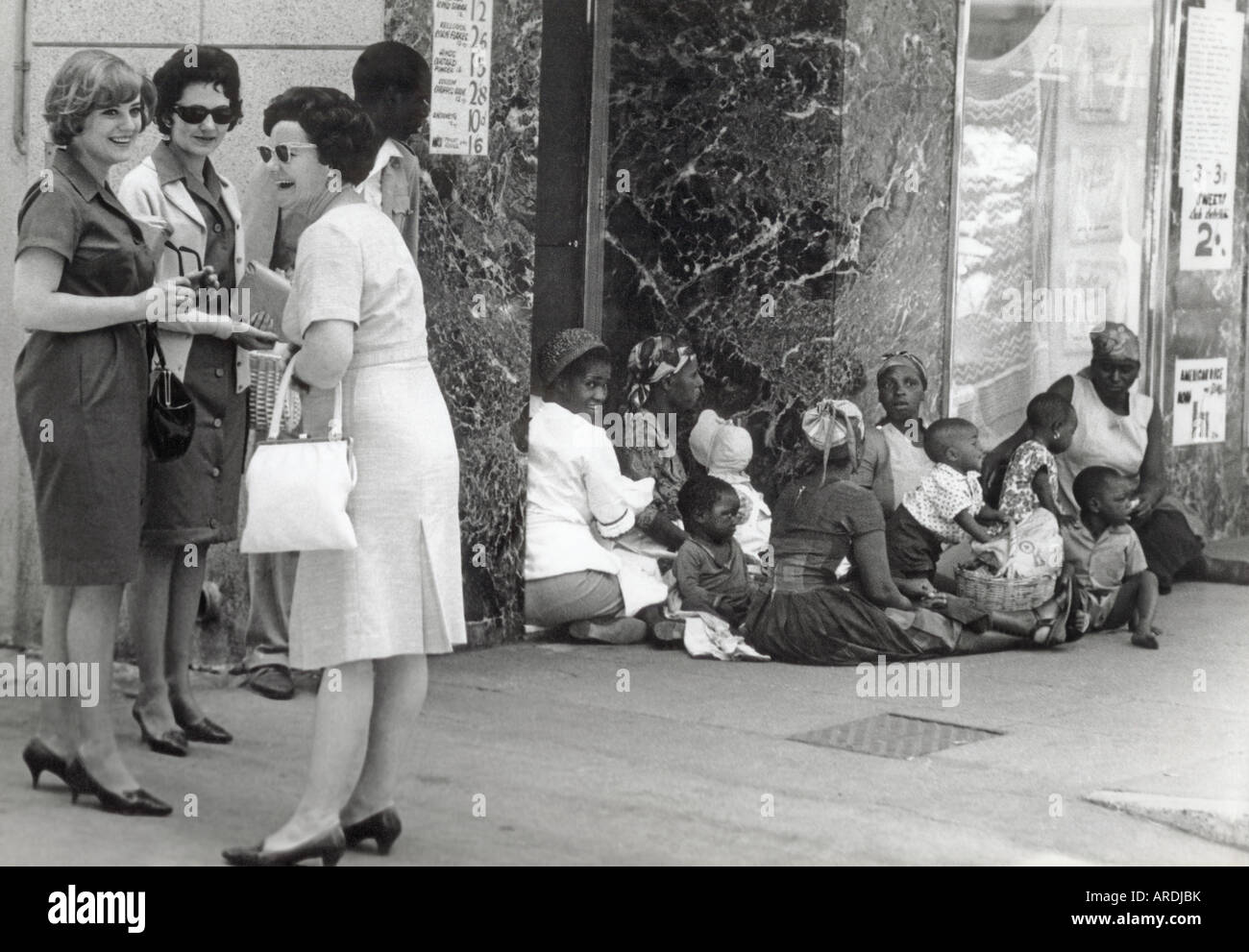 Shoppers in Salisbury Rhodesia, later Harare Zimbabwe, when white minority rule prevailed - Stock Image