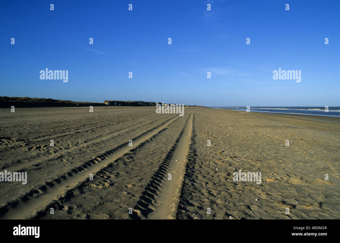 Tracks in the sand, Sutton on Sea Lincolnshire England UK - Stock Image