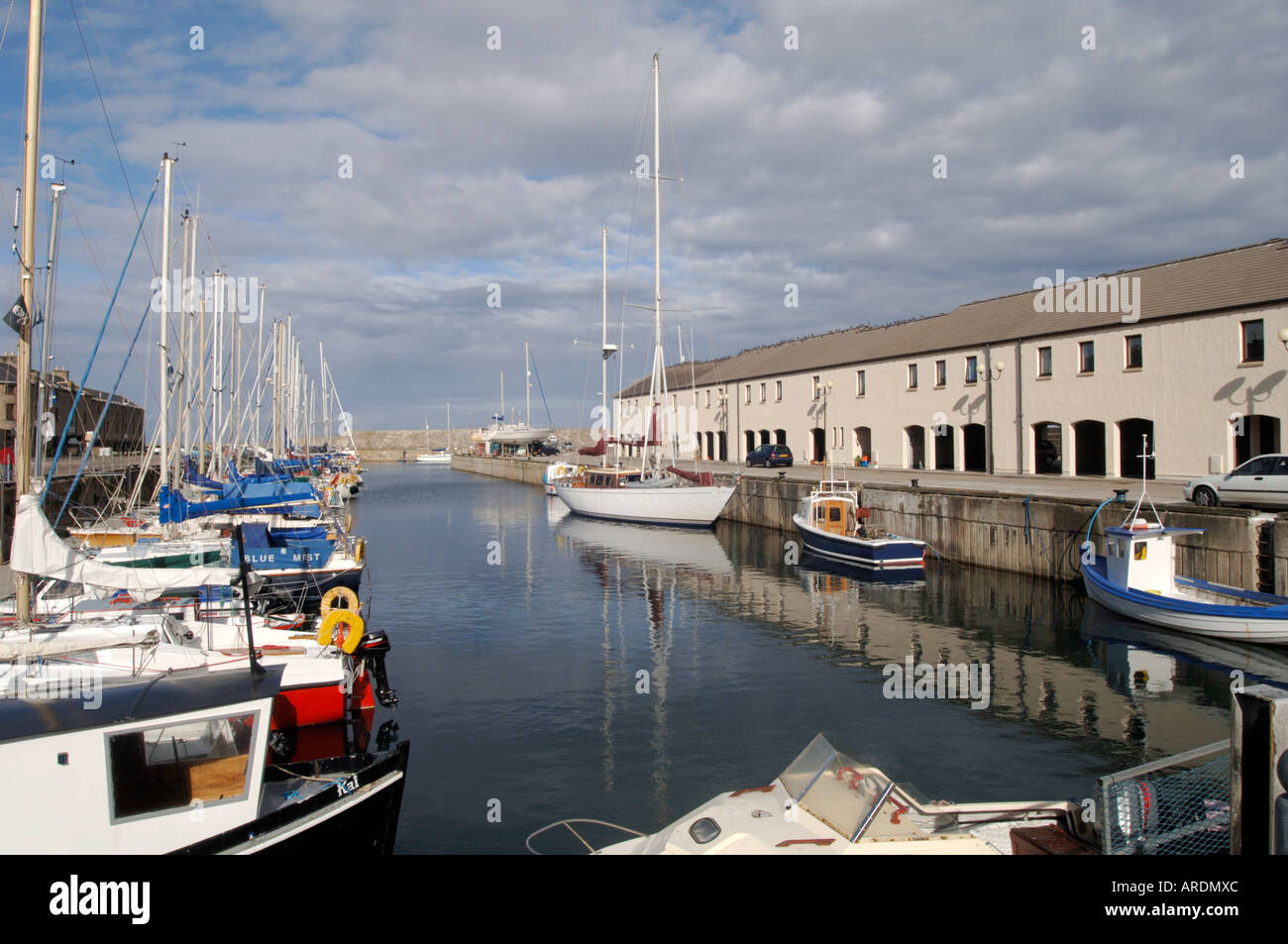 Lossiemouth on the Moray Firth offers good berthing for local leisure boats.   XPL 3619-350 - Stock Image