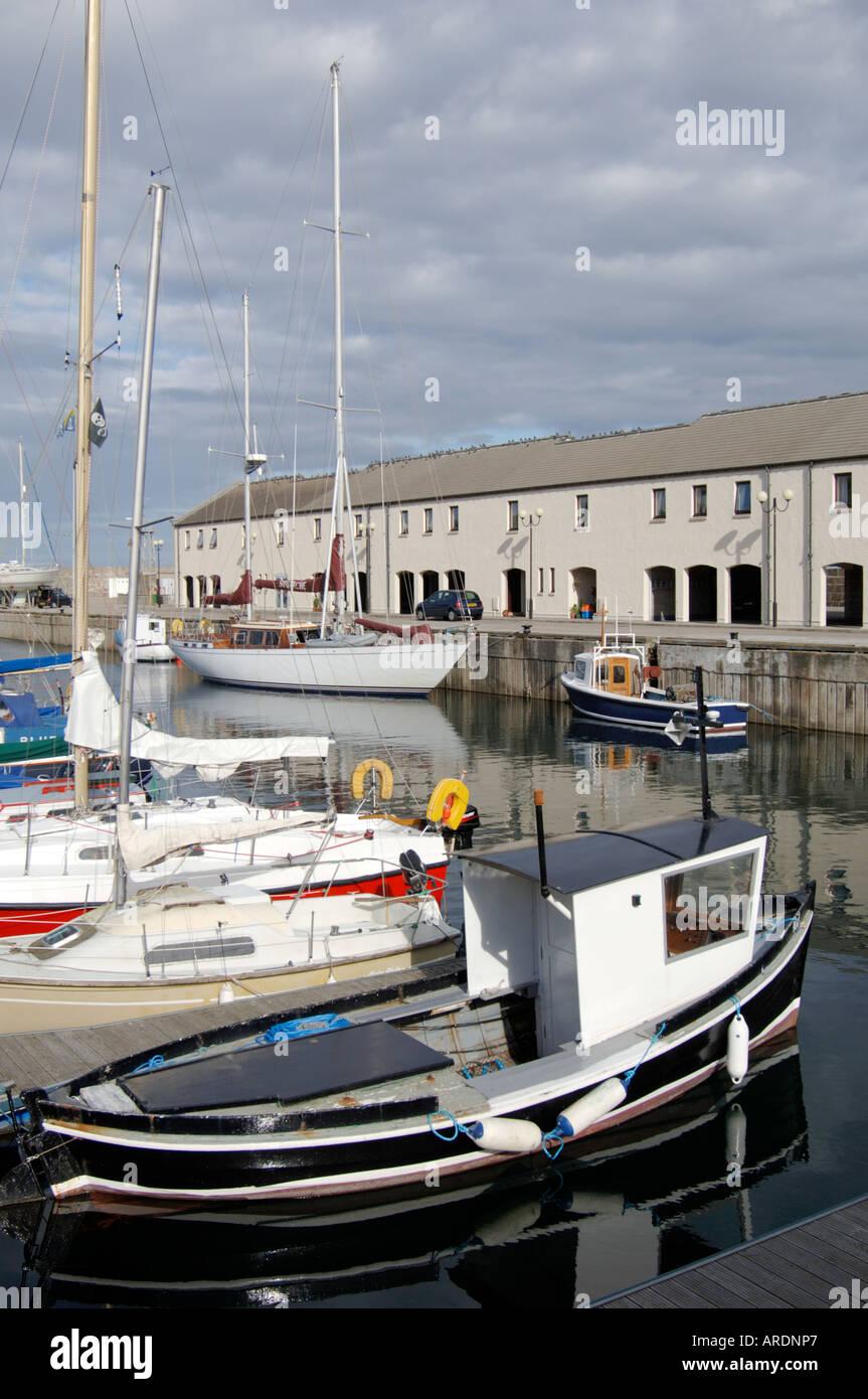 Lossiemouth harbour with pleasure boats moored Morayshire. Grampian Region. Scotland.  XPL 3628-351 - Stock Image