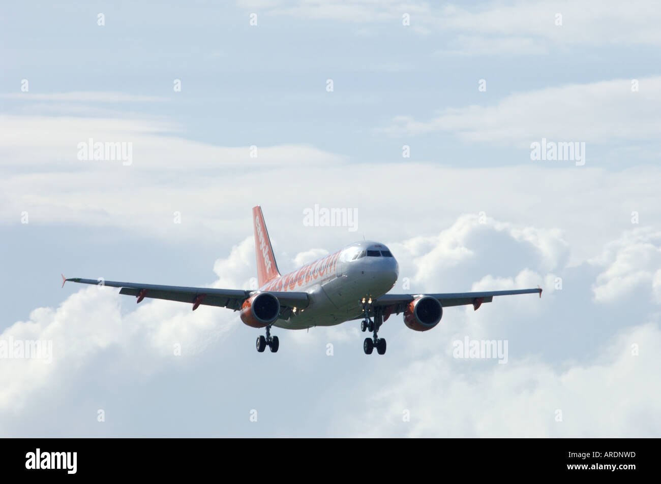 Easy Jet 737-700 London flight arriving at Inverness Airport.  XAV 3571-347 - Stock Image