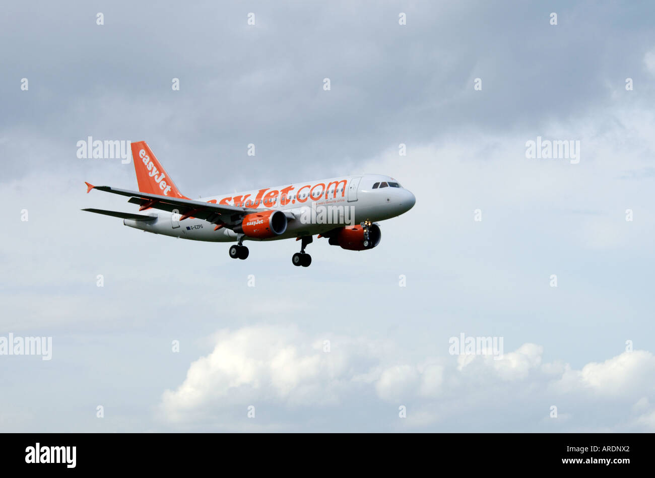 Easy Jet 737-700 London flight arriving at Inverness Airport.  XAV 3576-347 - Stock Image