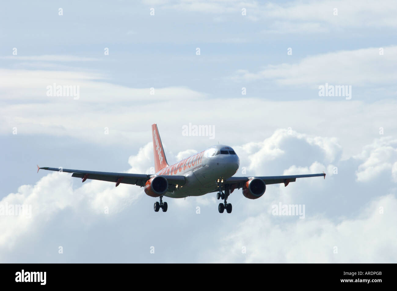 Easy Jet 737-700 London Flight Arriving at Inverness Dalcross Airport.  XAV 3666-354 - Stock Image