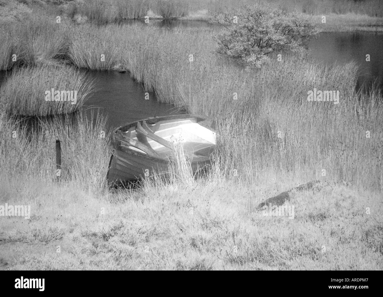 Boat on lake - monochrome - Infra red - Stock Image
