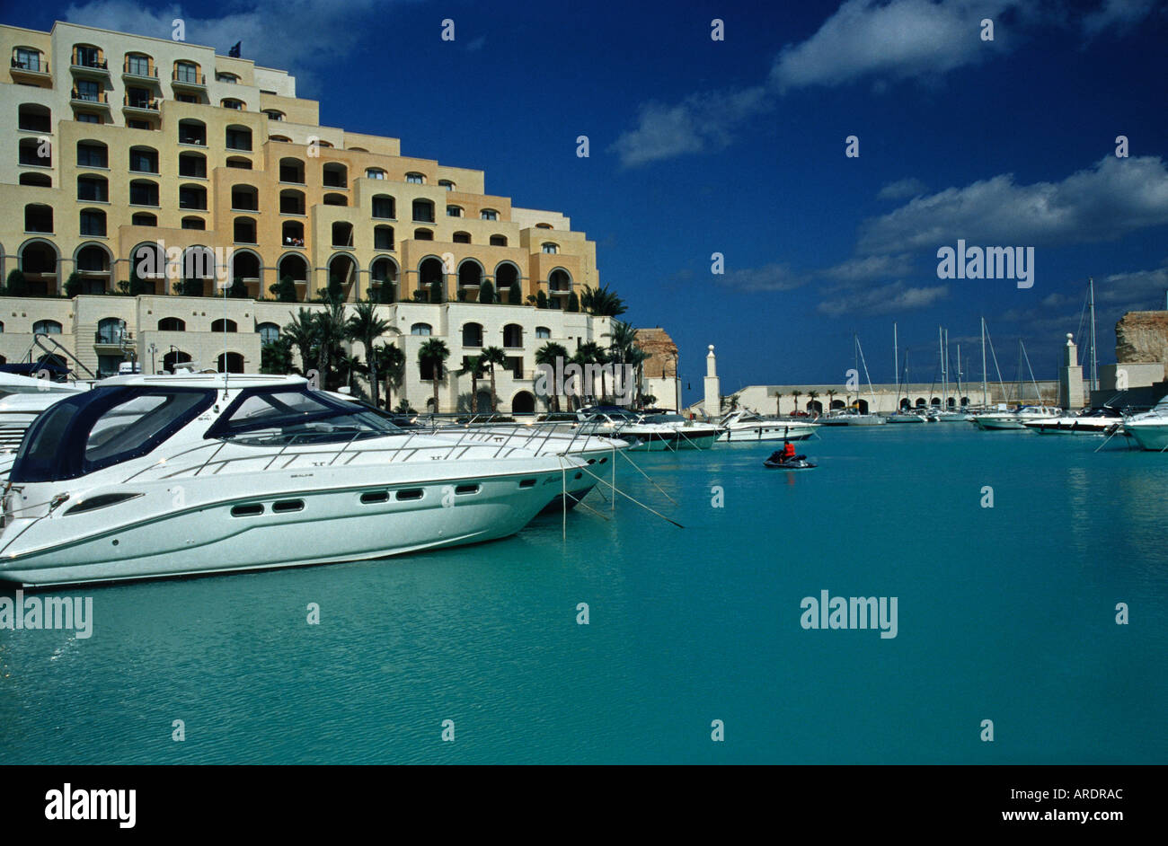 Portomaso Yacht Marina MALTA The Hilton hotel forms part of the waterfront complex - Stock Image