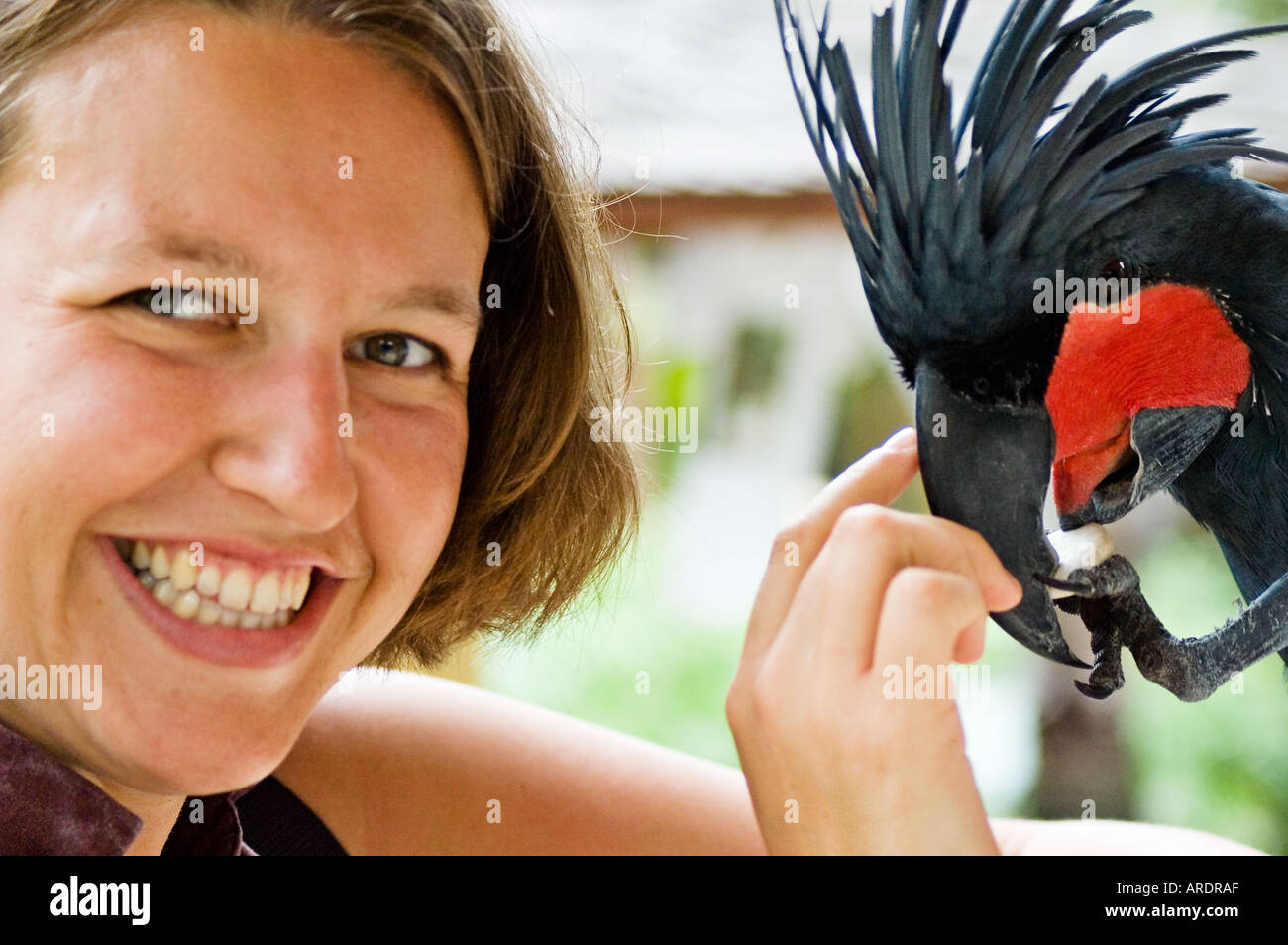 A Girl Plays With A Tropical Bird At The Bali Bird And Reptile Park