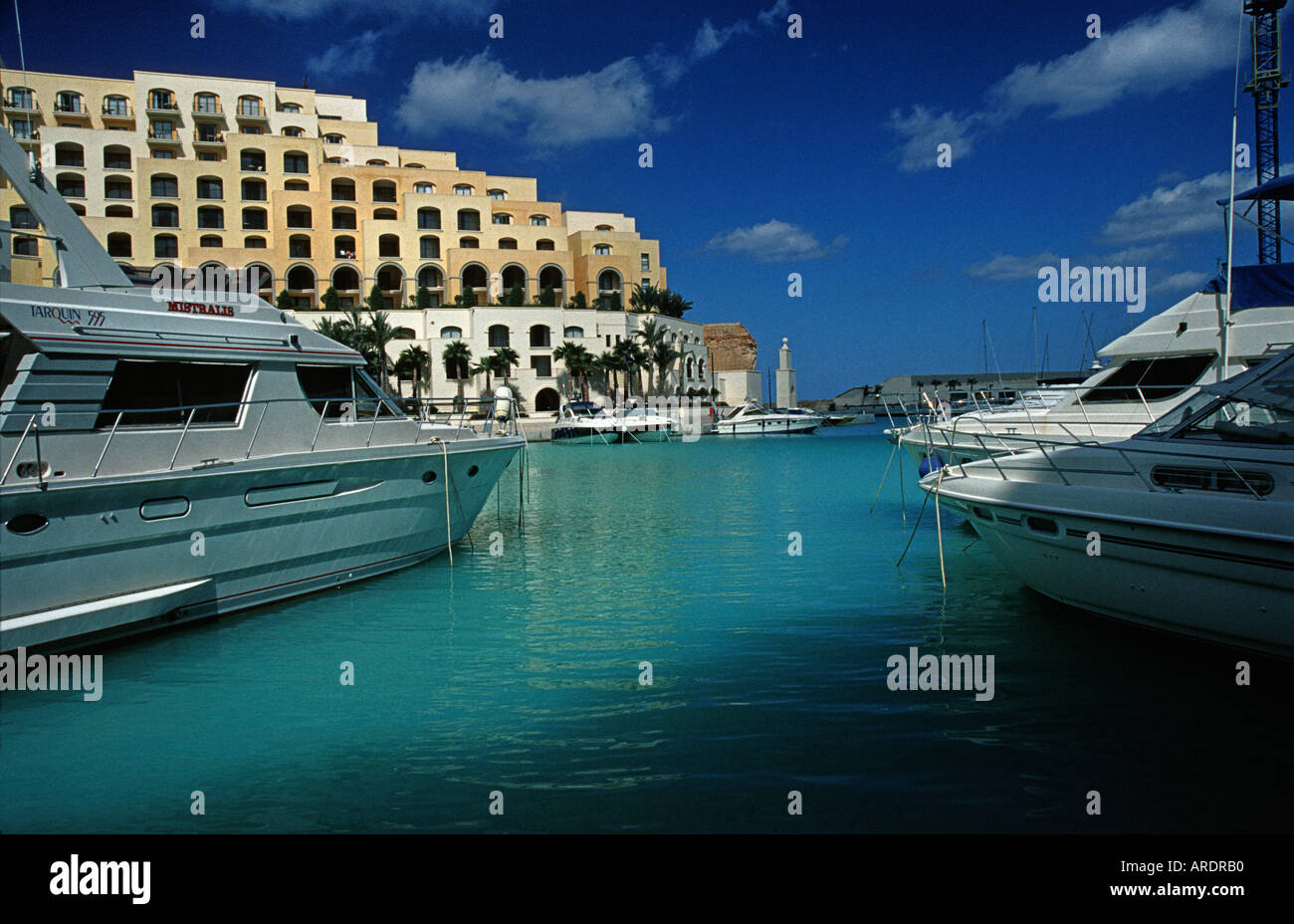 Portomaso Yacht Marina MALTA The Hilton hotel forms part of the waterfront complex - Stock Image