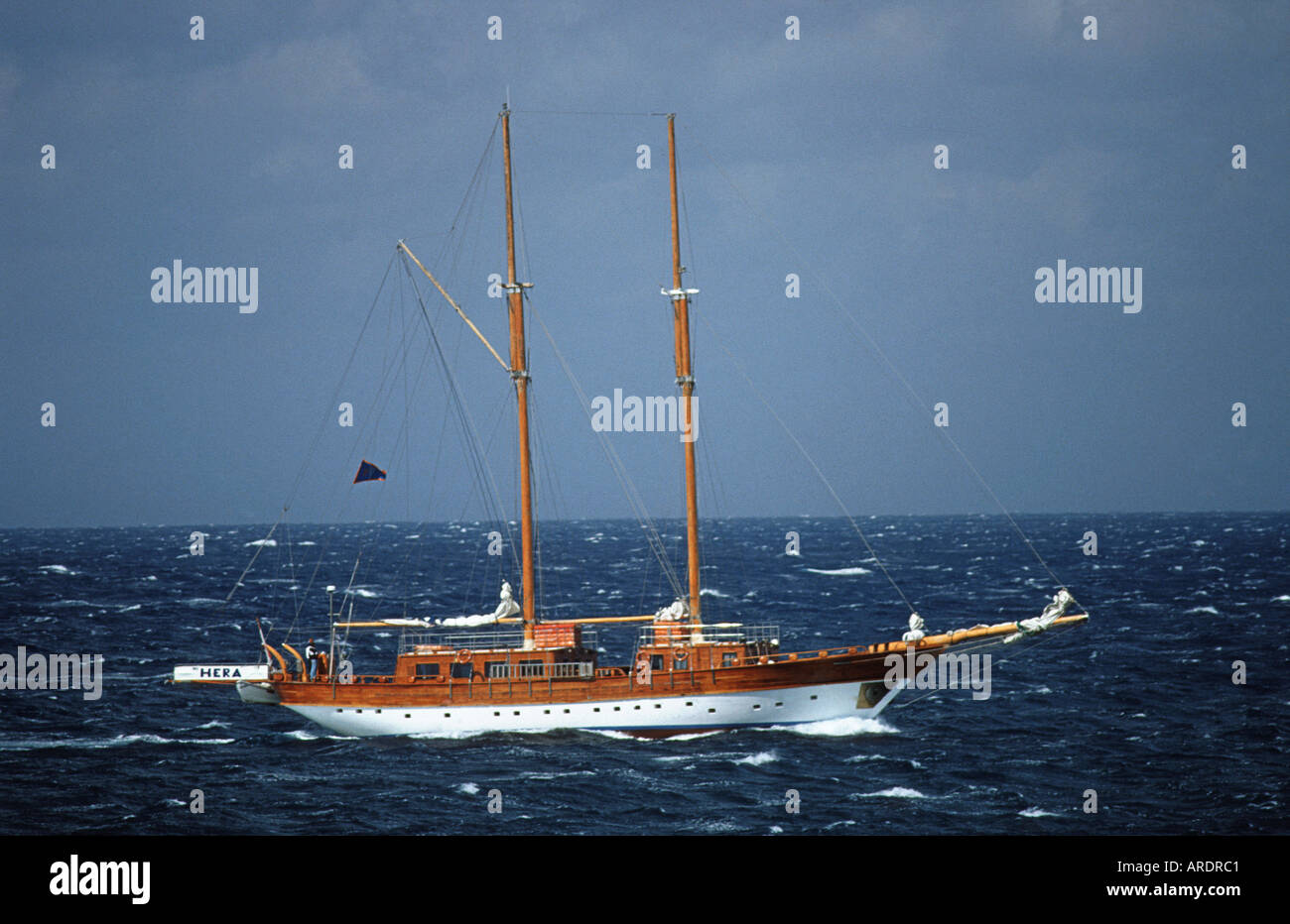 Yacht in the Mediterannean waters off the coast of Malta EUROPE - Stock Image