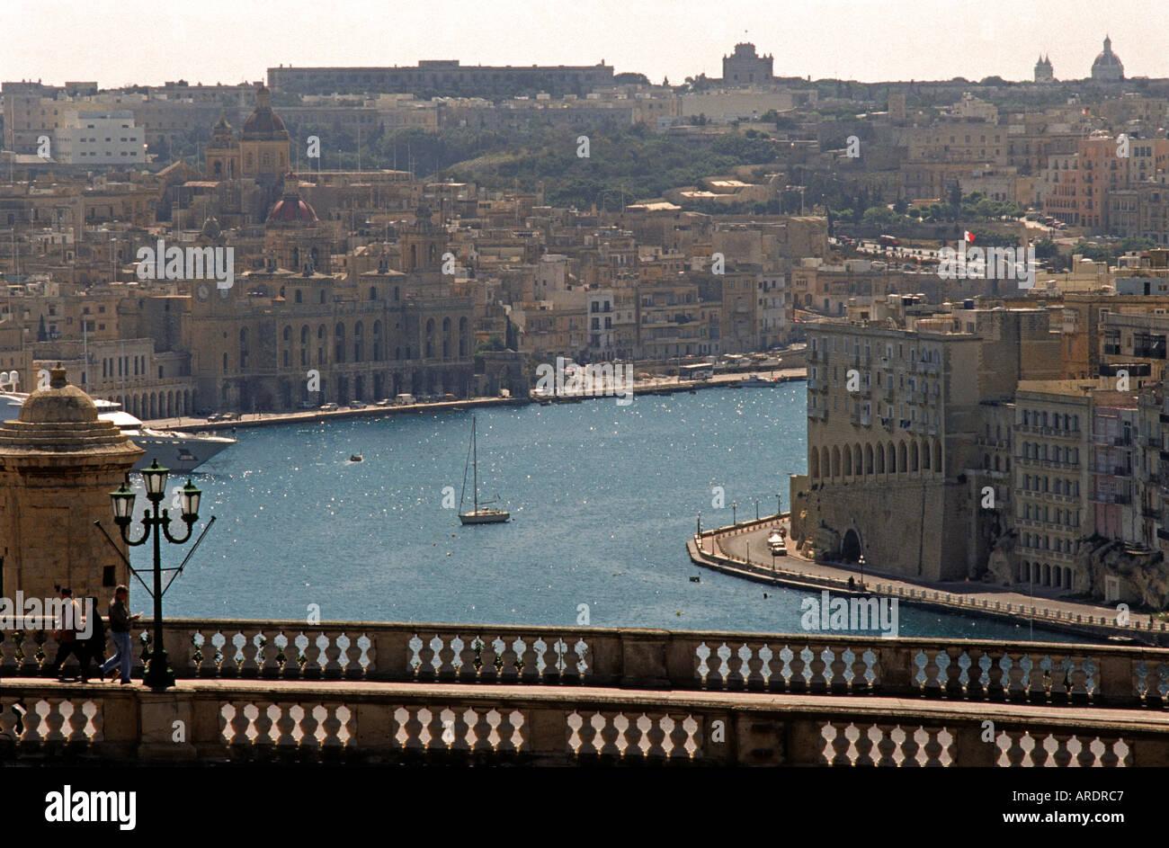 Scenic view across a bridge towards the Grand Harbour Valletta Malta Europe - Stock Image